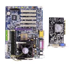 Комплект мат.плата GA-8ST800 S-478, P4 2.4 ГГц, DDR 768 Мб, AGP ATI, СО