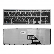 Клавиатура KB-101074 для ноутбука Sony Vaio VPC-F11, VPC-F12, VPC-F13, VPC-F11M1EH Series черная, рамка серебристая, плоский Enter
