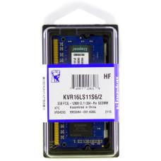 Память оперативная SODIMM DDR3L Kingston 2Gb 1600 МГц (PC3-12800) CL11 1.35V