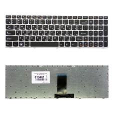 Клавиатура для ноутбука Lenovo IdeaPad B5400 M5400 черная, рамка серебристая, плоский Enter
