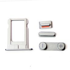 Комплект кнопок и лоток под SIM для смартфона Apple iPhone 5, стальной