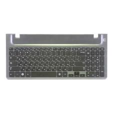 Клавиатура для ноутбука Samsung NP270E5E, NP300E5V,NP350V5C,NP355V5C,NP355V5X,NP550P5C черная, рамка черная, плоский Enter, топкейс (Original), Б/У