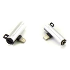 Адаптер Audio Lightning to 3.5 мм + зарядка серебристый (Hi-Fi)