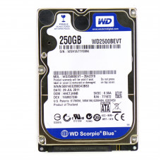 "Жесткий диск 2.5"" Western Digital WD2500BEVT, 250 Гб, SATA-II 3Gbit/s, 5400 об/мин, 8 Мб, Б/У"