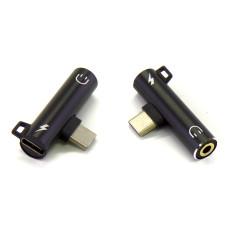 Адаптер Audio Type-C to 3.5 мм + зарядка черный (Hi-Fi)