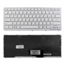 Клавиатура KB-102397 для ноутбука Sony Vaio VPC-CW, VGN-CW, VGNCW Series белая, рамка белая, плоский Enter