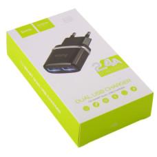 Блок питания СЗУ-2USB C12 черный 5V 2.4A (Hoco)